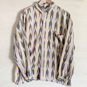VTG Aztec Tribal Western Button Up Long Sleeve